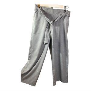 ZARA Tie Waist Cropped Wide Leg Pants Gray Small
